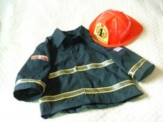 DIY Firefighter costume from old shirt (do we have any black shirts?)