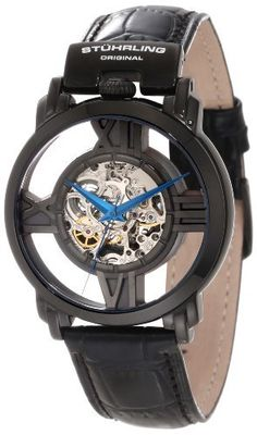 Stuhrling Original Men's 276.33551 Classic Winchester Cross Automatic Skeleton Black Leather Strap Watch Stuhrling Original. $169.00. Water-resistant to 50M (165 feet). Black alligator embossed genuine leather strap with black ip plated tang buckle. Protective Krysterna crystal on front and back. Black IP plated round shaped case with crown at twelve o' clock position. Center skeleton cut out and black IP plated floating dial with Roman numerals 12,3,6,and 9. Save 71%!