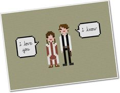 """Star Wars Han & Leia """"I Love You"""" / """"I Know"""" - Pixel People Quoteables - PDF Cross-stitch Pattern"""