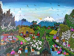 """The Tigua region of Ecuador is the home of artists who transmit Quichua beliefs, traditions and daily life through their """"naïf"""" paintings."""