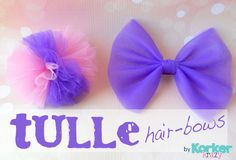 Cute and Easy Valentine Hair Bow Tutorial - Bakerette Tulle Hair Bow Tutorial--I have so much leftover tulle from that skirt I made! Valentine Hair Bow Tutorial by Jonie at Just-Between-Friends. Tulle Hair Bows, Tulle Headband, Hair Ribbons, Diy Hair Bows, Diy Bow, Ribbon Bows, Flower Headbands, Ribbon Flower, Ribbon Hair