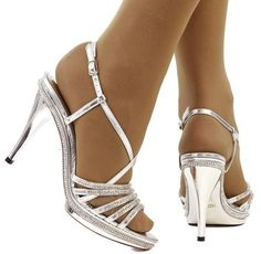 Opaque suntan hose in pretty silver sandals. Sexy Sandals, Silver Sandals, Cute Sandals, Sexy Heels, Ankle Strap Sandals, High Heels, Pantyhose Heels, Stockings Heels, Nylons