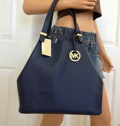 Michael Kors Blue Navy Large Leather Colgate Handbag Tote Bag Purse