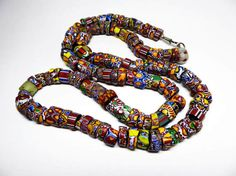 Vintage African Trade Beads Necklace  130 by thejewelseeker