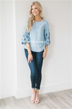 bab270239f3d4 Embroidered Chambray Bell Sleeve Top