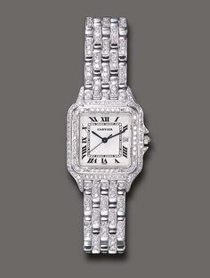"""A DIAMOND """"PANTHERE"""" WRISTWATCH, BY CARTIER  With quartz movement, the white square dial with black Roman numerals and blued-steel hands, window for date, within a two-tiered single and circular-cut diamond surround, to the polished white gold and circular-cut diamond link bracelet, mounted in 18k white gold"""