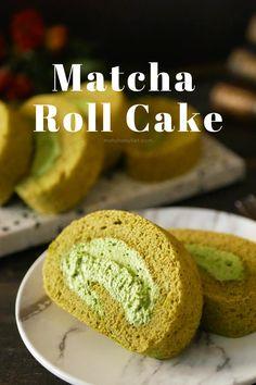 Satisfy your matcha cravings with this matcha roll cake. Matcha Cake, Matcha Green Tea Powder, Kebaya, Healthy Drinks, Fun Desserts, Cravings, Organic, Japanese, Sweets