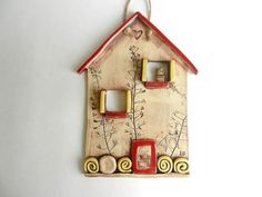 Ceramic house wall hanging clay housepottery by potteryhearts Clay Wall Art, Ceramic Wall Art, Ceramic Birds, Clay Houses, Ceramic Houses, Pottery Houses, Hand Built Pottery, Red Roof, House Ornaments