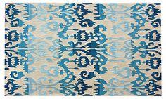 One Kings Lane - Bold Statements - Ikat Rug, Blue/Cream