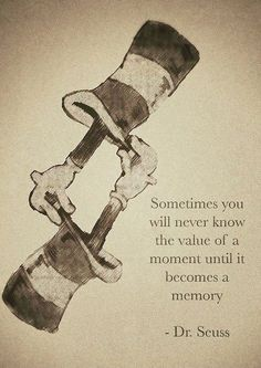 Sometimes you will never know the value of a moment until it becomes a memory. - Dr. Seuss #Quote