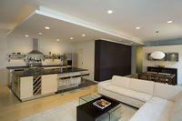By FORMWORK Architecture_ Again achieving spacious living, this renovated apartment happily marries cooking and lounging with clean crisp finishes. formworkusa.com Fashion Week, Architecture, Crisp, Furniture, Cooking, Home Decor, Remodels, Arquitetura, Kitchen