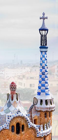 Barcelona - Park Guell Candy House Tower - Gaudi by Weston Westmoreland