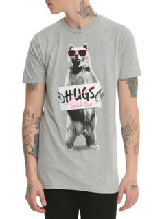 Heather grey T-shirt with sold out bear hugs design.
