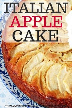 Italian Apple Cake - Apples play a starring role in this lemon and vanilla infused cake! Not only are they in the batter but on top too making for a pretty presentation and filling every bite with their tart, sweet flavor. Healthy Apple Cake, Easy Apple Cake, Apple Cake Recipes, Apple Desserts, Köstliche Desserts, Easy Cake Recipes, Healthy Desserts, Delicious Desserts, Dessert Recipes