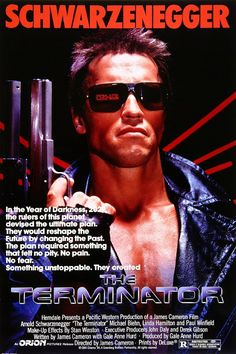 Directed by James Cameron.  With Arnold Schwarzenegger, Linda Hamilton, Michael Biehn, Paul Winfield. A seemingly indestructible humanoid cyborg is sent from 2029 to 1984 to assassinate a waitress, whose unborn son will lead humanity in a war against the machines, while a soldier from that war is sent to protect her at all costs.