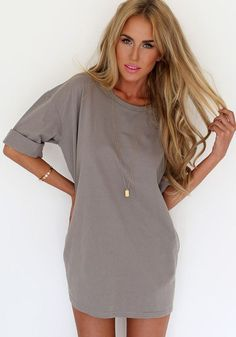 Grey Plain Print Elbow Sleeve Round Neck Chiffon Mini Dress