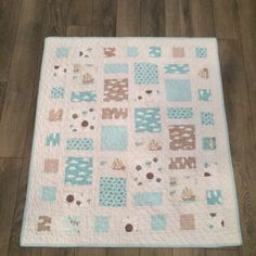 Modern Aqua and Greige baby/toddler quilt Toddler Quilt, Baby Boy Quilts, Quilts For Sale, My Etsy Shop, Blanket, Unique Jewelry, Handmade Gifts, Modern, Projects