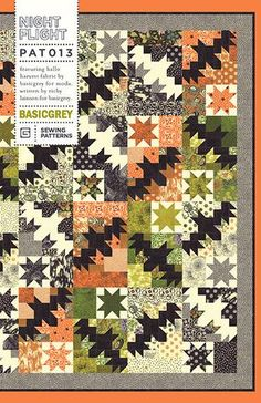 Night Flight Quilt pattern-featuring Hallo Harvest-by Basic Grey Halloween Quilts, Halloween Quilt Patterns, Halloween Sewing, Halloween Crafts, Halloween Ideas, Fall Sewing, Halloween Stuff, Fall Halloween, Quilt Festival
