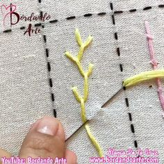 Hand Embroidery Patterns Flowers, Embroidery Stitches Tutorial, Embroidery Flowers Pattern, Hand Embroidery Designs, Embroidery Techniques, Machine Embroidery Patterns, Creative Embroidery, Simple Embroidery, Ribbon Embroidery