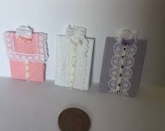 Handmade 1: 12th Scale DollHouse Miniature Ladies 3 Folded assorted coloured White Lace victorian style blouses