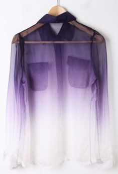 Purple White Gradient Pockets Long Sleeve Sheer Blouse
