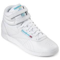 Reebok Womens Freestyle Hi Leather (8 M, White/Blue)