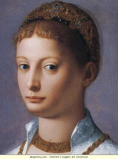 Agnolo Bronzino. Portrait of a Young Woman. Detail. Olga's Gallery.