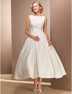 Wedding Dress Ball Gown Tea Length Satin Bateau Bridal Gown With Sashes – USD $ 69.99