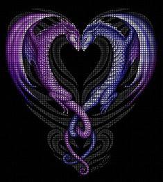 Dragons Heart Crochet Pattern Dragon Cross Stitch, Cross Stitch Heart, Counted Cross Stitch Patterns, Cross Stitch Designs, Cross Stitch Embroidery, Crochet Dragon, Crochet Cross, Crochet Chart, Crochet Blanket Patterns