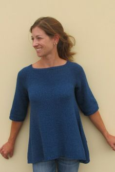 Diane Soucy  for Knitting Pure and Simple  128 Top Down Trapeze Pullover  WEB EXCLUSIVE.      Sobre, efficace !!