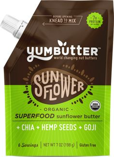 Yumbutter - Organic Superfood Sunflower Butter - 7 oz #sunflower #organic #superfood #Chia #goji