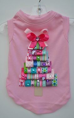 Pink Diva Christmas Tree Ribbon Dog Shirt DETAILS  - Pink cotton shirt  - Embellished with cute coordinating ribbons in bright fun colors  - Rhinestone