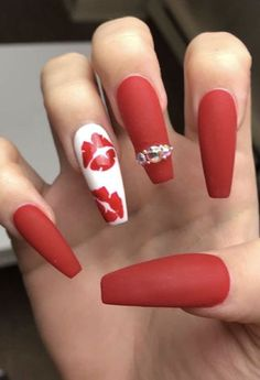 30 Eye-catching Red Nail Art Designs to Show Your Style; red coffin na Red Ombre Nails, Red Acrylic Nails, Red Nail Art, Acrylic Nail Designs, Nail Art Designs, Red Matte Nails, Acrylic Art, Dark Nails, Holiday Nails