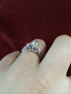 My engagement ring!  Vintage band and a marquise center diamond!  Love!