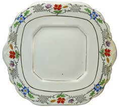 Porcelain Serving Plate with Painted Flowers and Gilded, Vintage English, 1930s