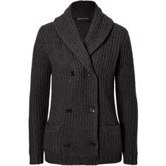 Ralph Lauren Black Label Heavy Knit Cashmere Cardigan (3.110 BRL) ❤ liked on Polyvore featuring tops, cardigans, jackets, grey, knit cardigan, grey cashmere cardigan, grey cardigan, long sleeve tops and gray cashmere cardigan