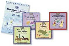 FIRST STEPS IN MUSIC: For Infants & Toddlers (Book & 4 CD set) - This set includes John Feierabend's First Steps in Music for Infants and Toddlers curriculum book and 4 supplemental CDs (Round and Round the Garden, Ride Away on Your Horses, Frog in the Meadow, Keep the Beat with the Classics). Each CD contains over 60 selections, with a booklet of lyrics and special directions. Music is performed simply and joyfully.