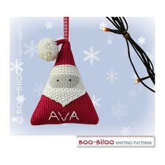 This listing is for a Knitting Pattern - NOT the finished item. This pattern tells you how to make my stylish, personalized Santa Claus hanging Christmas decoration. PATTERNS ARE WRITTEN IN ENGLISH It is written for knitting flat (apart from a small i-cord) on 2 needles and seamed up