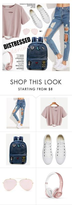 """Tear it Up: Distressed Denim"" by pokadoll ❤ liked on Polyvore featuring Converse and Beats by Dr. Dre"