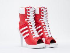 High Heel Sneakers, Sneaker Heels, High Heels Stilettos, Stiletto Heels, Peep Toe Platform, Peep Toe Shoes, Platform Shoes, Adidas High, Adidas Shoes