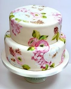 Ranunculus, lilkac & pinecones hand painted wedding cake - My WordPress Website Gorgeous Cakes, Pretty Cakes, Amazing Cakes, Bolo Floral, Floral Cake, Painted Wedding Cake, Hand Painted Cakes, Floral Wedding Cakes, Rosa Rose