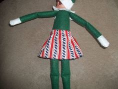 Christmas Elf doll skirt red white and blue with stripes by on Etsy Christmas Elf Doll, Red And White, Stripes, Dolls, Holiday Decor, Skirts, Handmade, Blue, Stuff To Buy