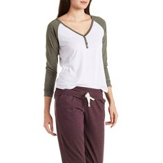 Charlotte Russe Olive V-Neck Henley Baseball Tee by Charlotte Russe at... ($17) ❤ liked on Polyvore featuring tops, t-shirts, olive, raglan tee, long sleeve raglan tee, long t shirts, baseball tee shirt and baseball shirts