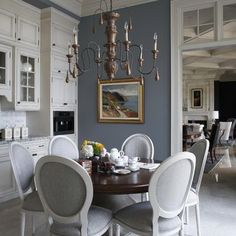 BM Oxford Gray. Gorgeous grey paint with white cabinets and trim