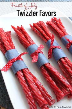 These Twizzler favors make a perfect favor for your Fourth of July get together! All you need is some scrapbooking paper and ribbon!