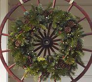 Wreath on old wheel