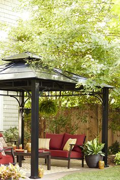 Consider the size and use of your space before selecting your patio setup. A sturdy gazebo offers shade for extended entertaining. Bonus, its height is perfect for an outdoor chandelier.