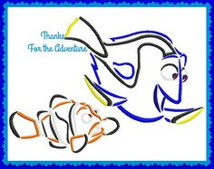 Dory and Marlin from Finding Nemo Sketch Digital Embroidery Machine Design File  4x4 5x7 6x10 by Thanks4TheAdventure on Etsy