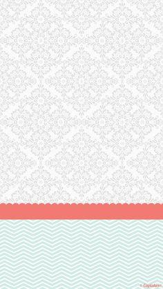 Grey coral mint damask chevron iphone phone background lock screen wallpaper