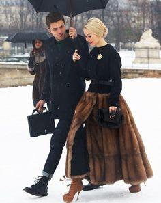 Ulyana Sergeenko Street Style at Paris Haute Couture Fashion Week 2013 Fur Fashion, Look Fashion, High Fashion, Paris Fashion, Street Fashion, Classy Fashion, Fashion Fall, Fashion Photo, Latest Fashion
